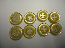 8 x golden yellow pearlised raised rim round 4 holed buttons 15mm dia. #74 ZB001
