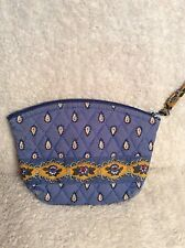 VERA BRADLEY quilted FRENCH BLUE make up COSMETIC fabric bag lined zip top GUC