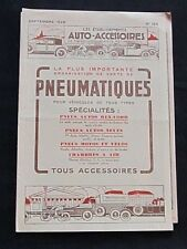 Brochure Pneumatiques Ets Auto-Accessoires Paris Années 20 moto vélo auto