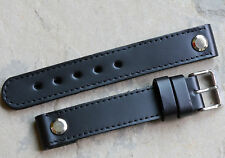 Matte black leather AVIATOR open-ended 18mm pilot's watch band Made in England