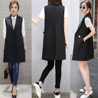 Womens Blazer Suit Jacket Casual Coat Ladies Waistcoat Slim Geilt Vest Outerwear