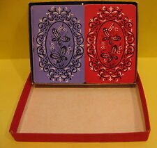 Vintage Arrco Playing Cards Complete Double Deck Set Butterfly Design W/Case