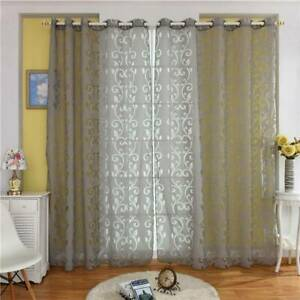 Living Room Window Curtain Sun Shade Sheer Voile Morden Door Drape Printed Drape
