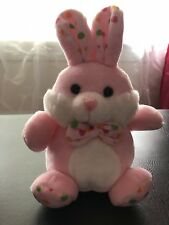 New!! Pink Easter Bunny Stuffed Animal Plushie With Polka Dot Details and Bowtie
