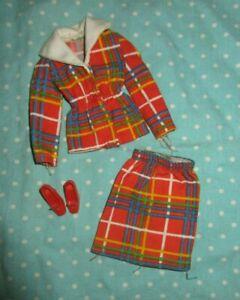 1974 Barbie Best Buy 7815 window pane red plaid jacket & skirt shoe fashion
