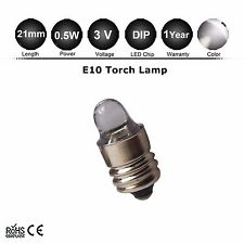 E10 0.5W chip Led Flashlight Replacement Bulb Torch Lamp Light White 3V C/D Cell