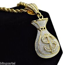 "Money Bag Sand Blast Pendant Gold Tone Iced-Out Hip Hop Rope Chain 30"" Necklace"