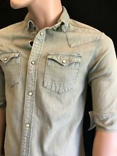 BNWT ALLSAINTS Gents Cannon HS Short Sleeve Denim Shirt Size XS RRP £78