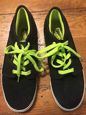 Vans Mens Black Suede Leather /Neon Green Skater Shoes sz 7