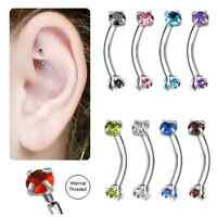 Curved Barbell 16G Internally Threaded 316L Surgical Steel Rook Earring Eyebrow