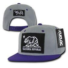 Gray & Purple California Cali Republic Flag Patch Snapback Caps Cap Hats Hat