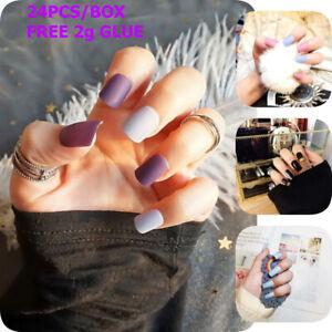 Matte False Nails Press On Finger Artificial Decorations Short Square 24 PcsSet