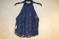 Free People Womens Shirt Top Blouse Blue Lace Size XS