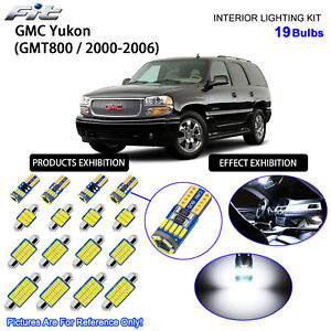 19 Bulbs LED Interior Dome Light Kit 6000K Cool White for 2000-2006 GMC Yukon