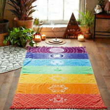 Chakra Rainbow Meditation Yoga Mat / Wall Hanging /Throw 7 Chakra Symbols Reiki