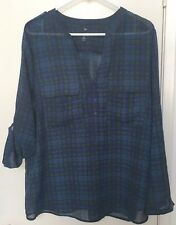 Gap Blouse XL Blue Green Sheer Plaid Long Sleeves