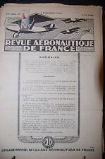 revue aéronautique de france , AVIATION  1929; avril N°4 , SOMMAIRE VOIR PHOTO.