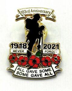 1918-2021 WW 1  Remember Day P0ppy Pin Badge Lapel Enamel Brooch Veteran Day