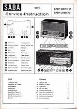 Service Manual-Anleitung Saba  Sabine 12,Lindau 12