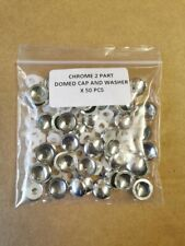 CHROME 2 PART DOMED CAPS AND WASHERS 6G TO 8G SCREW COVER X 50 PCS