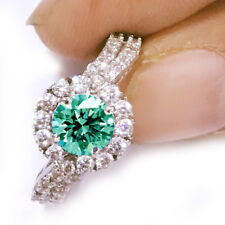 3.06ct vvs1;BLUE GREEN WHITE MOISSANITE DIAMOND ENGAGEMENT .925 SILVER RING 7