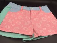 Hello Kitty Girls Pink Jean Summer Shorts W Pockets Sz MM Pink Aqua Blue