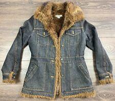 Marvin Richards Women's Jean Jacket Denim Coat Faux Mink Fur Lined Size small
