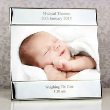 Personalised Silver Square 6x4 Picture Photo Frame Gifts New Born Baby Boy Girl