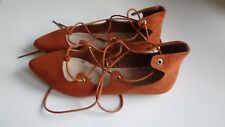 NEW TAN LACE UP FAUX SUEDE FLATS SIZE 5.