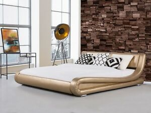 Designer Upholstered Bed Leather Bed Gold Wavy Luxury