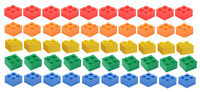 ☀️NEW LEGO 2x2 Bricks 50 Count 5 Assorted Colors Blue green yellow red orange
