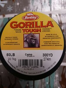 Berkley Gorilla Tough braided fishing line, 50lb and 300yds