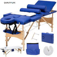 "84""L 3 Fold Portable Facial Spa Bed Massage Table Sheet+2 Bolsters+Cradle+Hanger"