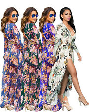 USA Women Long Sleeve Maxi Summer Floral Short Romper Dress Bo ho Split Chiffon