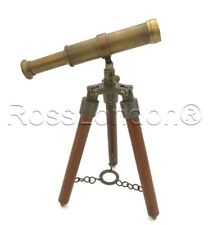 Antique / Vintage Solid BrassTelescope with wooden Tripod-High Quality lens