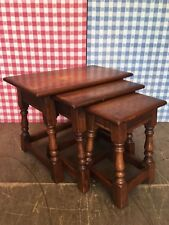 Solid Oak Nest of 3x Old Charm Wood Bros Canted Side Tables - Similar to Jaycee