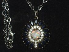 FLOATING  OPAL PENDANT LAB SAPPHIRE WHITE TOPAZ  925 STERLING