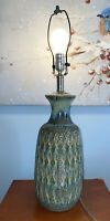 VTG MID CENTURY MODERN BLUE-GREEN DRIP LAVA GLAZE ART POTTERY TABLE LAMP EUC