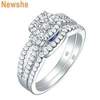 Newshe Engagement Ring Wedding Set For Women Round White Cz Blue Sterling Silver