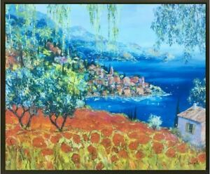 """Poppies Dream"" by Duaiv (Framed Fine Art on Canvas Landscape Ocean Decorative)"