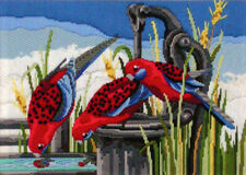 Country Threads Long Stitch Kit Crimson Rosellas Australian Birds FLS1025