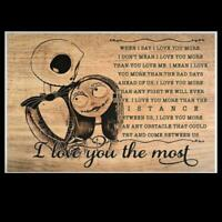Sally And Jack Skeleton I Love You The Most Satin Landscape Poster