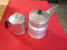 Vintage kitchen collectible older coffee pot,Hibbard double boiler,aluminum