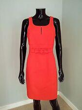 Paule Ka designer red cotton sleeveless shift pencil dress smart sz 42FR/14UK