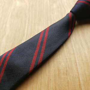 Vintage Brooks Brothers Ribbed Dark Blue Twin Red Repp Stripe Silk Untipped Tie