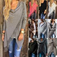 Womens Tassel Fringe Cardigan Knitted Long Sleeve Jumper Sweater Casual Top Coat