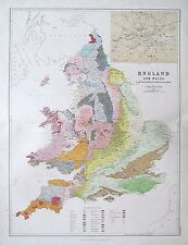 1881 ENGLAND & WALES To Illustrate the Geological Formation of the Country Map