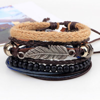 Men's Brown Leather Beads Hemp Rope Weaved Bangle Multilayers Bracelet Wristband