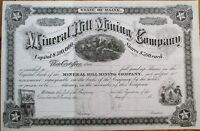 Mineral Hill Mining Company 1880 Stock Certificate - Maine ME