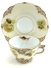 Antique Silesia Old Ivory Cabbage Roses Tea Cup Saucer Hermann Ohme Germany K244